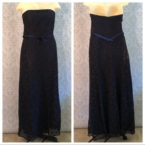 Dessy Collection Blue w/black lace formal